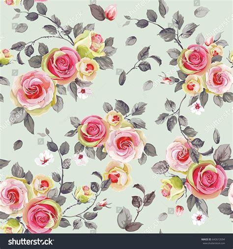 english rose pattern vector seamless pattern elegance blooming english roses stock