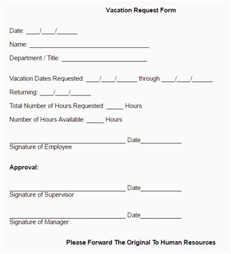 employee vacation request form template 6 employee vacation request form templates free sle