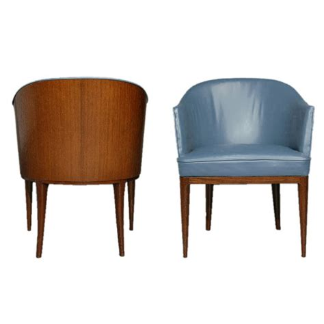 Wooden Barrel Chairs by Pair Of Blue Leather And Wood Barrel Chairs At 1stdibs