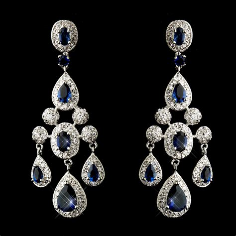 Sapphire Chandelier Earrings Wedding Bridal Sapphire Cubic Zirconium Chandelier Earrings Ebay