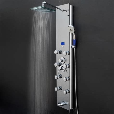 Bathroom Shower Panels Akdy Sp0031 52 In 8 Jet Shower Panel System In Mirror Silver Tempered Glass With Rainfall