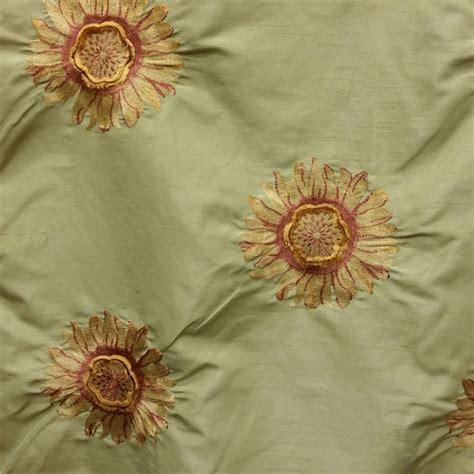 embroidered silk drapery fabric enviga sage green embroidered floral faux silk drapery