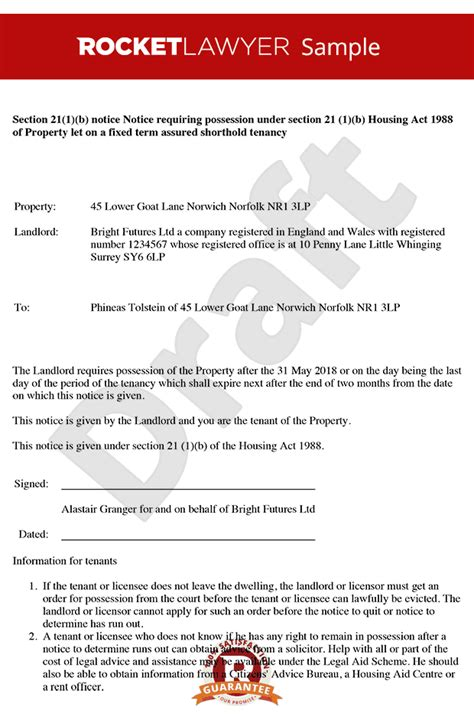 section 21 notice template fixed term tenancy agreement notice period choice image