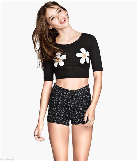 Ibbie Crop Top Black Xs h m flower floral print black crop top t shirt