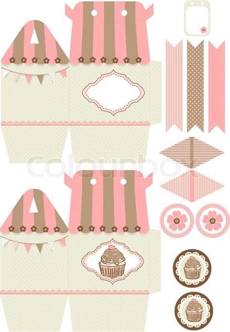 Cupcake Papercraft - cupcake box vorlage vektorgrafik colourbox