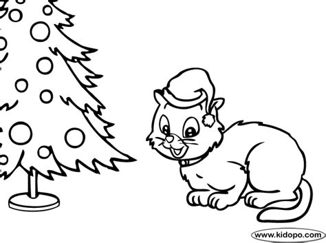 christmas kitty coloring page christmas cat coloring page