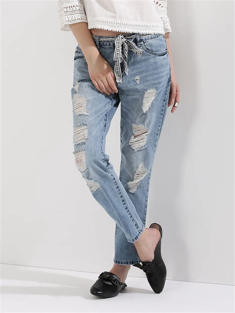 Background Check On Boyfriend For Free Buy Only Low Rise Boyfriend Denim With Tie Knot Belt For S Blue