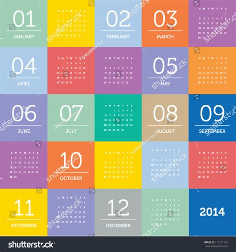 pattern color flat calendar 2014 square pattern flat color stock vector