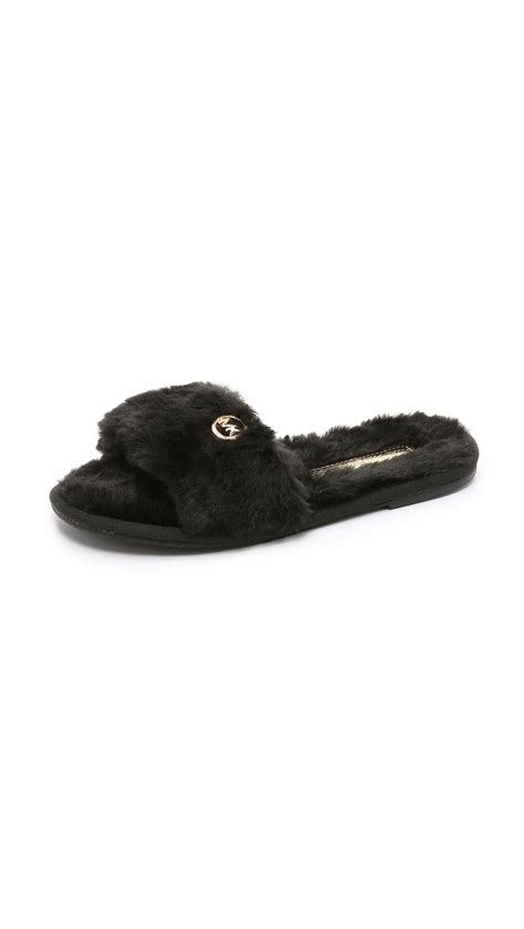 michael kors slippers michael michael kors jet set faux fur slide slippers