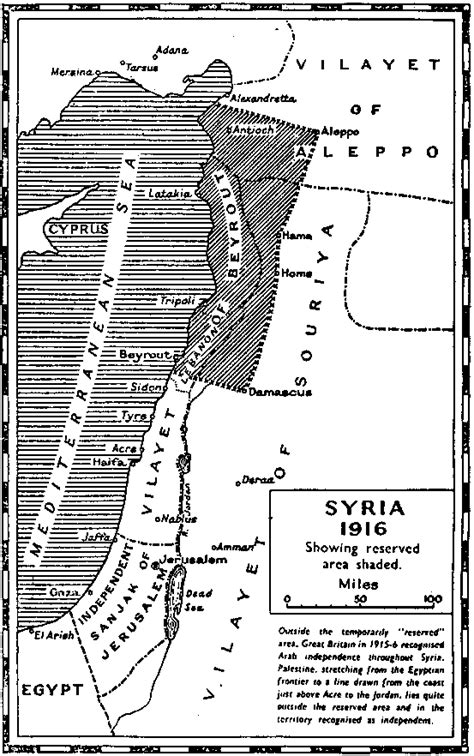 "Map of ""Excluded Areas"" under the Hussein-McMahon"