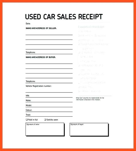 Sold As Seen Receipt Template by Sold As Seen Receipt Used Car Sale Receipt Used Car