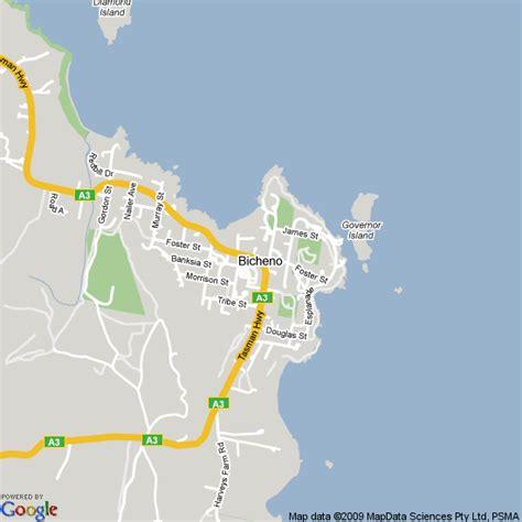 map  bicheno tasmania hotels accommodation