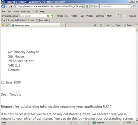 Request Letter New Printer Student Systems Ug Admissions User Guide