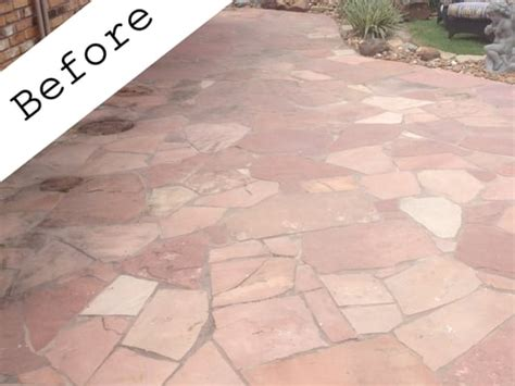 red flagstone patio before sealer was applied yelp
