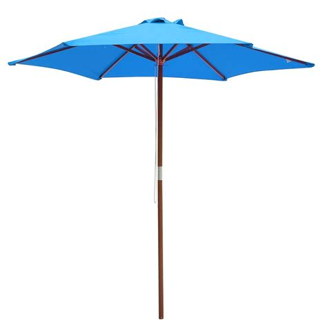 8FT 6 Ribs Patio Wood Umbrella Wooden Pole Outdoor Garden