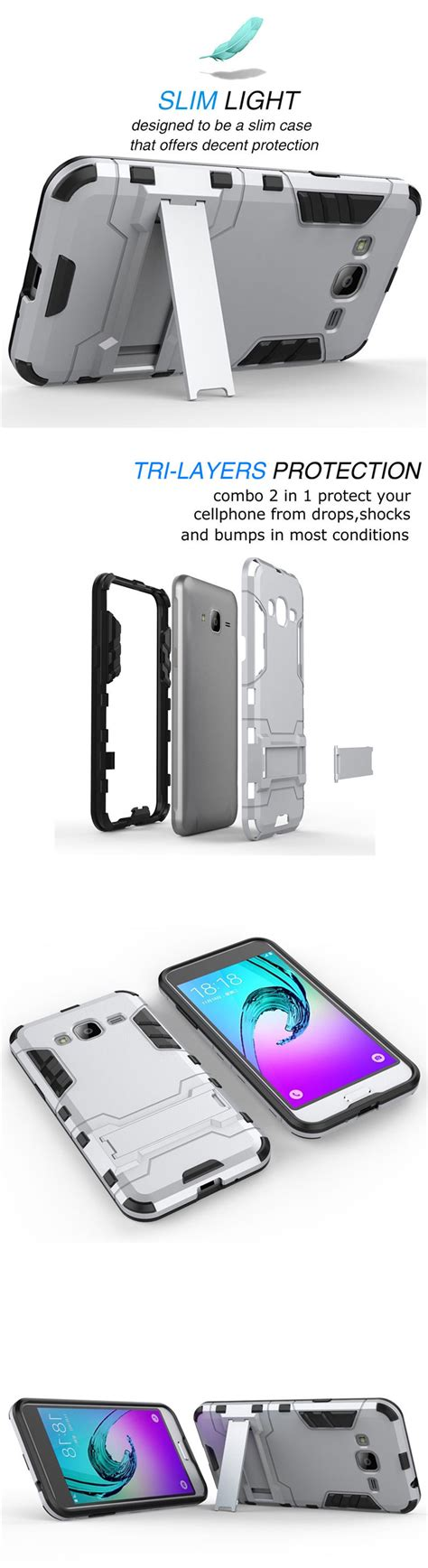 Samsung Galaxy J2 Iron Shockproof Armor Hybrid Casing Bumper Bagus hybrid shockproof rugged cover holster for samsung