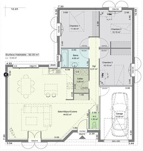 Plan De Maison Facade by Plan Maison Plain Pied 12m De Facade