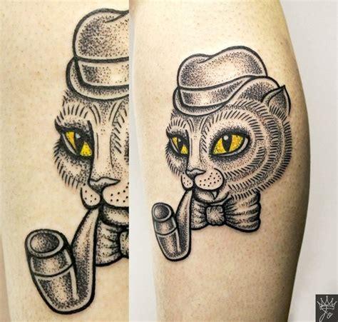 tattoo cat smoking funny fairy tale gentleman cat smoking pipe detailed