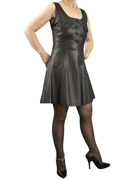 schoolgirl pinafore black mini leather dress tout ensemble