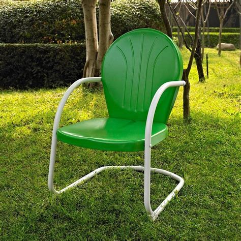 Retro Patio Chair Green White Outdoor Metal Retro Vintage Style Chair Patio Furniture Ebay