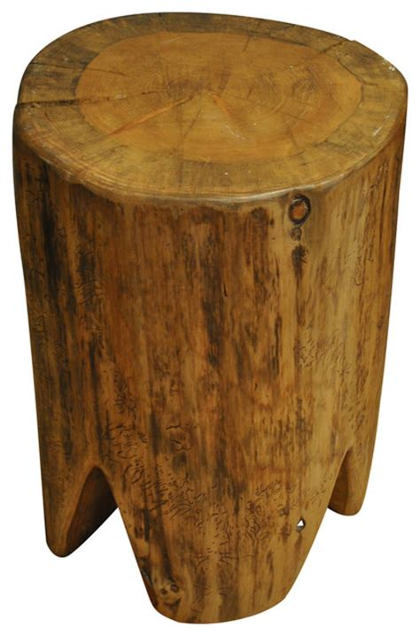 polished square tree stump stool rustic accent