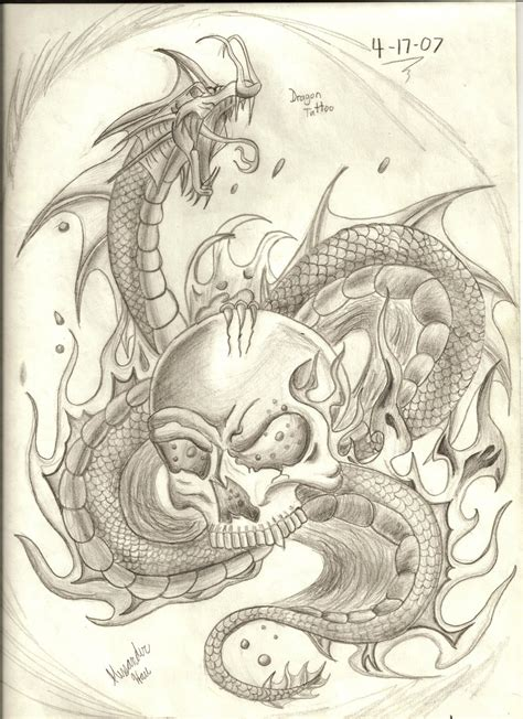 dragon skull tattoo with skull by 12haua on deviantart