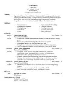 Financial Advisor Resume Exles by Resume Financial Advisor Resume Exles Free Personal Financial Advisor Resume Certified