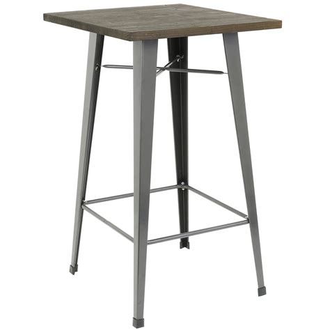 Metal Bistro Table Hartleys Wooden Top Metal Bistro Table Industrial Rustic Breakfast Bar Cafe