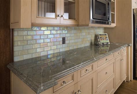 Pictures Of Glass Tile Backsplash In Kitchen Gorgeous Iridescent Backsplash Tile The Way It
