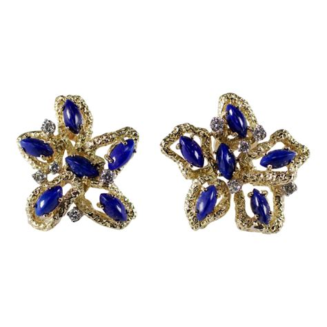 Anting Lapis 18k 10 18k yellow gold lapis and earrings attos antique estate jewelry