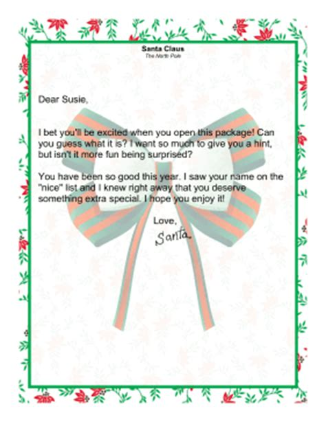 Gift Accompanying Letter Letter From Santa Claus About A Special Gift