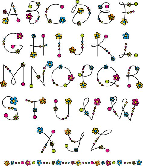 printable alphabet letters with flowers flower alphabets letters vectors 02 vector flower free