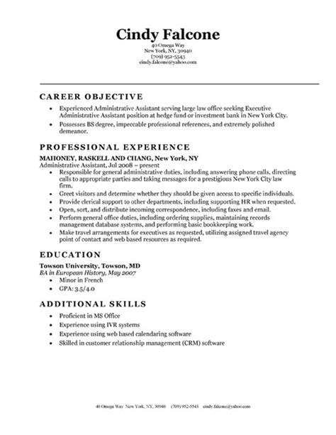 administrative assistant resume objectives position