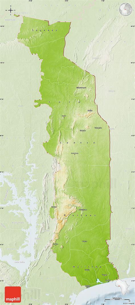 physical map of togo physical map of togo lighten