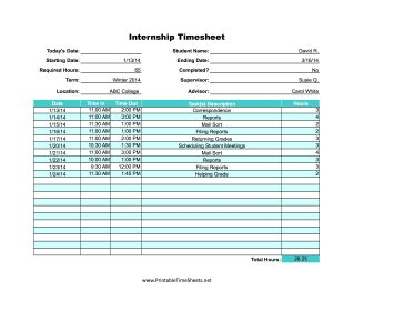 internship printable time sheet