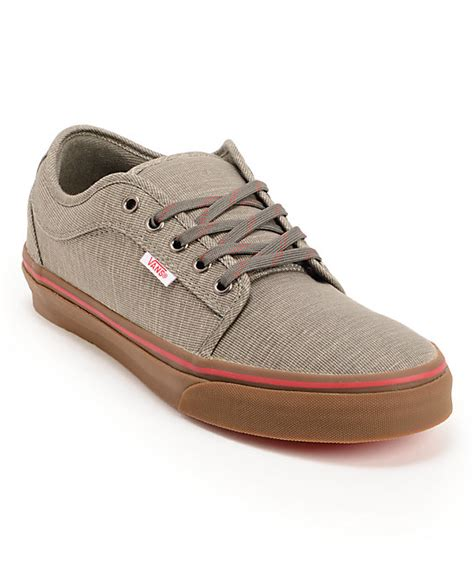 Vans Brownish Grey Shoes vans chukka low linen grey gum skate shoes zumiez