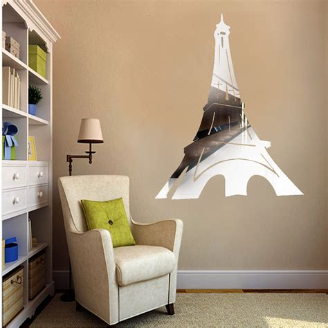 Removable Diy Wall Stickers Intl eiffel tower mirror removable decals wall stickers diy