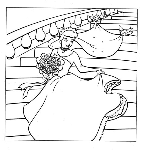 Cinderella Bride Coloring Pages | disney princess cinderella and her gown coloring pages