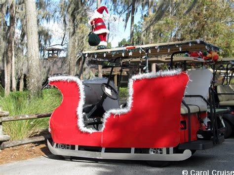 golf carts decerated for christnas at fort wilderness all ears 174 guest