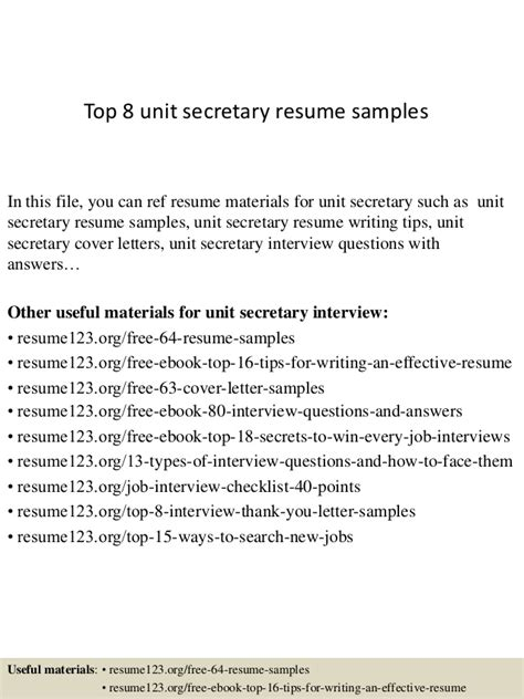 top 8 unit secretary resume sles