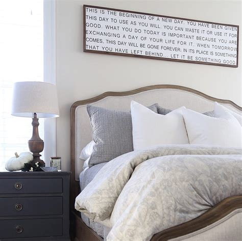 above bed decor fall master bedroom tour cape cod farmhouse cambridge