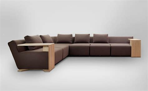 wooden modern sofa functional modular sofa with modifiable wooden tables