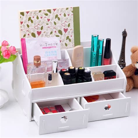 White Wooden Box Wash Gargle Bathroom Shelf Storage Box Toilet Desk Organizer