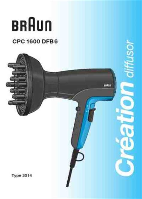 Hair Dryer Owners Manual braun cpc 1600 dfb 6 hair dryer manual for free