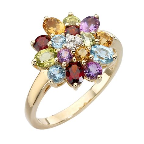 Colourful I Ring 9ct gold and multi coloured stones ring ernest jones
