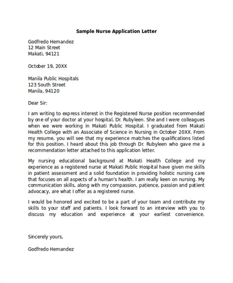 application letter exles for nurses sle application letter 18 exles in pdf word