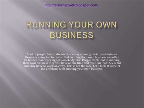 Run Your Own Corporation running your own business