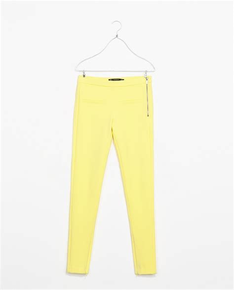 zara trousers with zips in zara trousers with side zip in yellow lyst