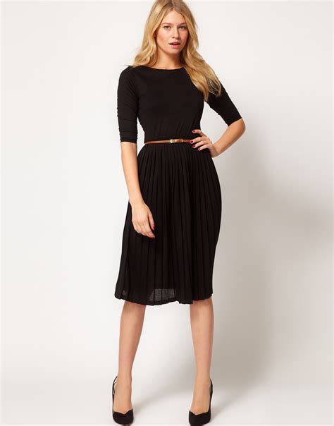asos midi dress with pleated skirt in black lyst