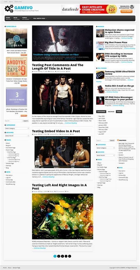 wordpress themes in html5 gamevo wordpress theme html5 css3 responsive magpress com